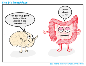 brain asks colon about a big breakfast
